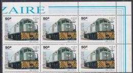 A5183 ZAIRE 1985, SG 1261 50Z National Transport Office, Train,  MNH Corner Block Of 6 - 1980-89: Oblitérés