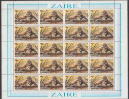 B0042 ZAIRE 1984, SG 1176 Garamba National Park, Lions,  MNH   Full Sheet - 1980-89: Oblitérés