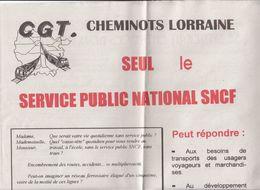 CGT,cheminots Lorraine,4 Pages Grand Format Sur L'avenir Du Réseau,2 Scans - Ferrovie