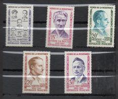 1959 -- Tps N° 1198 à 1202 ( 5 Valeurs)--Héros De La Résistance -- NEUFS ** --gomme Intacte--cote 3.30€  ....... - France
