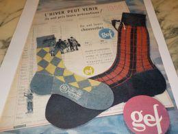 ANCIENNE PUBLICITE LES CHAUSETTES  DE GEF 1958 - Vintage Clothes & Linen