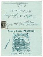 WENDUYNE - Grand Hotel Pauwels - Briefkaart 12,5 X 8 Cm - Opengeplooid 16,5 X12 Cm - Lijnstempel - Rare - Wenduine