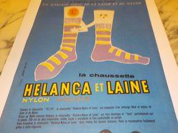 ANCIENNE PUBLICITE  CHAUSETTE HELANCA ET LAINE   1957 - Vintage Clothes & Linen