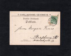 Cachet GEISWEID Sur YT 46 -  CARL AURAND, GEISWEID - Deutsche Reichspost POSTKARTE - Alemania