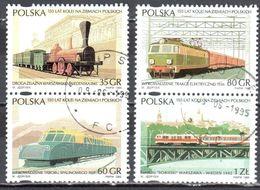 Poland 1995 Polish Railways,150th Anniv. - Mi 3541-44 - Used - 1944-.... Republik