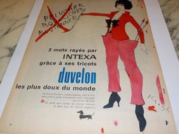 ANCIENNE PUBLICITE TRICOT INTEXA  1957 - Vintage Clothes & Linen
