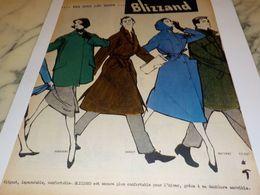 ANCIENNE  PUBLICITE VETEMENT DES QUATRE SAISONS BLIZZAND 1957 - Vintage Clothes & Linen