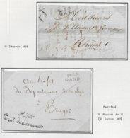 L'Escaut Département Conquis Belge 2 Lettres 92/ GAND 1808 Et  P92P / GAND + PREFET/DEPT DE L'ESCAULT AN 13 - Marcofilie (Brieven)