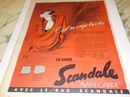 ANCIENNE  PUBLICITE AVANT GARDE SCANDALE  1958 - Vintage Clothes & Linen
