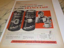 ANCIENNE PUBLICITE LES JUMELLES  FRANCE LAIT 1958 - Affiches