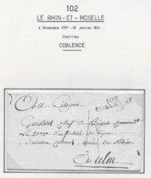 RHIN ET MOSELLE  Département Conquis ALLEMAND  Lettre 102 / COBLENZ Sans Texte Pour L'armée Du RHIN - Poststempel (Briefe)