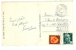 PARIS DEPART Carte Postale 5 Mots Dest Tunis TUNISIE 2 F Gandon 50c Blason Lorraine Yv 713 757 Ob 18 5 1947 - France
