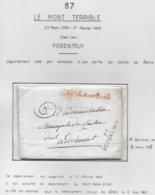 LE MONT TERRIBLE SUISSE  Marque Postale 87 / PORENTRUY + Griffe Rouge Dept Du Mont Terrible FLOREAL AN 5 - Poststempel (Briefe)