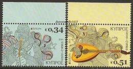 "CHIPRE/CYPRUS / ZYPERN -  EUROPA 2014-TEMA ANUAL "" INSTRUMENTOS MUSICALES NACIONALES""- SERIE De 2 V. - 2014"