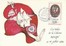 """ROUEN : T. à D. Illustré Pour """" Les Voiles De La Liberté"""" Sur CPM Pour Le Bicentenaire De La Révolution Française. - Poststempel (Briefe)"""