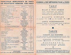 METRO De PARIS Avec PLAN - TARIF BILINGUE (Allemand) & PrinciPaux Monuments De PARIS - Documents Historiques