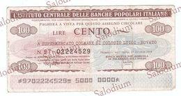 BANCHE POPOLARI ITALIANE - SUPERMERCATO COLMARK COLOSIO ROVATO - MINIASSEGNI - Banconota Banknote Assegno - [10] Scheck Und Mini-Scheck