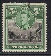 Malta 1938 - 43 KGV1 5/-d Palace Square Valletta Used SG 230 ( B1277 ) - Malte (...-1964)