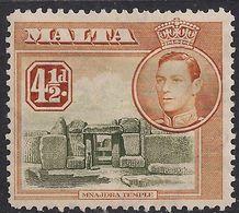 Malta 1938 - 43 KGV1 4 1/2d Ruins Of Minajdra Mint No Gum SG 224 ( J518 ) - Malte (...-1964)