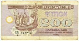 Ukraine - 200 Karbovantsiv - 1992 - Pick 89.a - Serie 087/4 - Ucrania