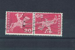 SUISSE 1960  Tete Bêche YT 646c Oblitéré Papier Fluorescent / Rare - Se-Tenant