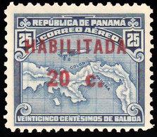 Scott C16   25 Airplane Over Map Of Panama Overprinted Habilitada 20c. Mint Never Hinged. - Panama