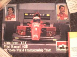Poster Alain Prost / Nigel Mansell -Ferrari   42 Cm X 32 Cm Excellent état ! - Automobilismo - F1