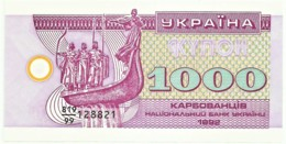 Ukraine - 1000 Karbovantsiv - 1992 - Unc. - Pick 91.r - Serie 819/99 - REPLACEMENT NOTE - RADAR NUMBER 128821 - Ucrania
