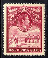 Turks & Caicos 1938 - 45 KGV1 2/-d Bright Rose Carmine Umm SG 203a ( E557 ) - Turks And Caicos