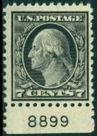 UNITED STATES OF AMERICA 1917-19 DEFINITIVES, 7c BLACK WASHINGTON PLATE NUMBER SINGLE* (MLH) - Etats-Unis