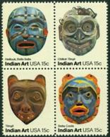 UNITED STATES OF AMERICA 1980 FOLK ART BLOCK OF 4, INDIAN MASKS** (MNH) - Neufs