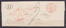 """L. Càd TOURNAY /21 JUIL 1839 Pour NOGENT-SUR-VERNISSON - Marque (1d.) (décime Rural) - Griffe [B.1R] Càd Passage """"BELG. - 1830-1849 (Belgica Independiente)"""