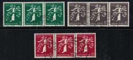 Suisse // Schweiz // Switzerland // Se-Tenant // Exposition Nationale Zurich 1939  No.Z25b-Z26b-Z27b Oblitéré F/I/D - Se-Tenant