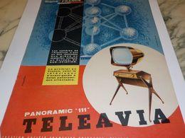 ANCIENNE PUBLICITE SIGNE FRANCE TELEVISION TELEAVIA   1958 - Television