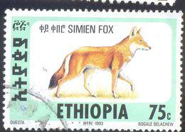 ETHIOPIA 75C USED STAMP 54648 SIMIEN FOX 1993 - Ethiopie