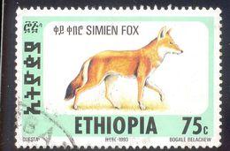 ETHIOPIA 75C USED STAMP 54728 SIMIEN FOX 1993 - Ethiopie