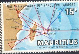 MAURITIUS 15C USED STAMP 56306 PLAISANCE CIVIL AIRPORT - Mauritius (1968-...)