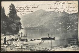 1905 CPA LE LAC BOURGET ET LE DENT DU CHAT (74 HAUTE SAVOIE)  ANIMEE FEMMES LAVANDIERES BATEAUX - Aix Les Bains