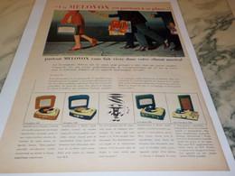 ANCIENNE PUBLICITE ELECTROPHONE VALISE DE MELOVOX 1958 - Ciencia & Tecnología