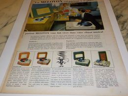 ANCIENNE PUBLICITE ELECTROPHONE VALISE DE MELOVOX 1957 - Musik & Instrumente