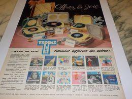 ANCIENNE  PUBLICITE OFFREZ LA JOIE    ELECTROPHONE  DE TEPPAZ 1958 - Musik & Instrumente