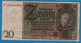 DEUTSCHES REICH 20 REICHSMARK 22.01.1929 LETTER B   # F.33810983   P# 181a - [ 3] 1918-1933: Weimarrepubliek
