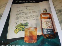 ANCIENNE PUBLICITE  HENNESSY A LIVRE OUVERT HENCO 1958 - Alcools