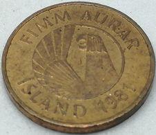 Moneda 1981. 5 Aurar. Islandia. KM 24. MBC+ - Islande