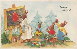 Dressed Rabbit Easter Bunny Children In Painting School Old Postcard Amag - Animales Vestidos