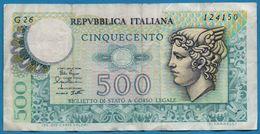 ITALIA 500 LIRE 02.04.1979 # G26 124150 P# 94 Mercury - 500 Lire