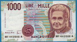 ITALIA 1000 LIRE 3.10.1990  # MF 443586 A  P# 114c Maria Montessori - 1000 Lire