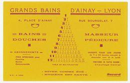 Buvard 21.8 X 14  GRANDS BAINS D'AINAY à Lyon Rhône Bains Douche Masseur Pédicure - Parfum & Cosmetica