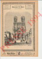 2 Scans Gravure Presse 1894 Vue Cathédrale De Reims Au 19° Siècle Cheval 229CH22 - Vieux Papiers