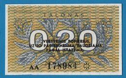 LITHUANIA  0,20 Talonas 1991 # AA 178984  P# 30 - Lithuania